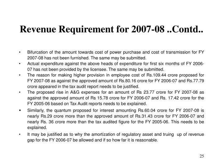 Revenue Requirement for 2007-08 ..Contd..