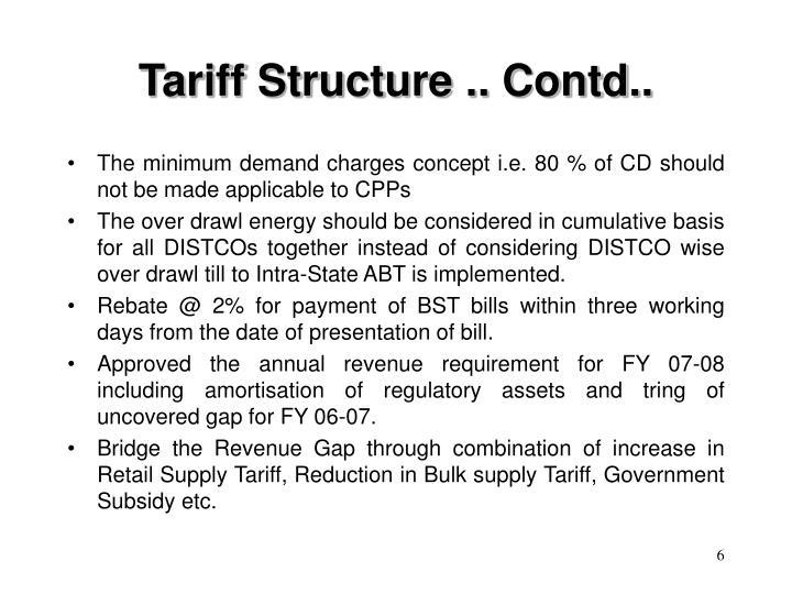Tariff Structure .. Contd..