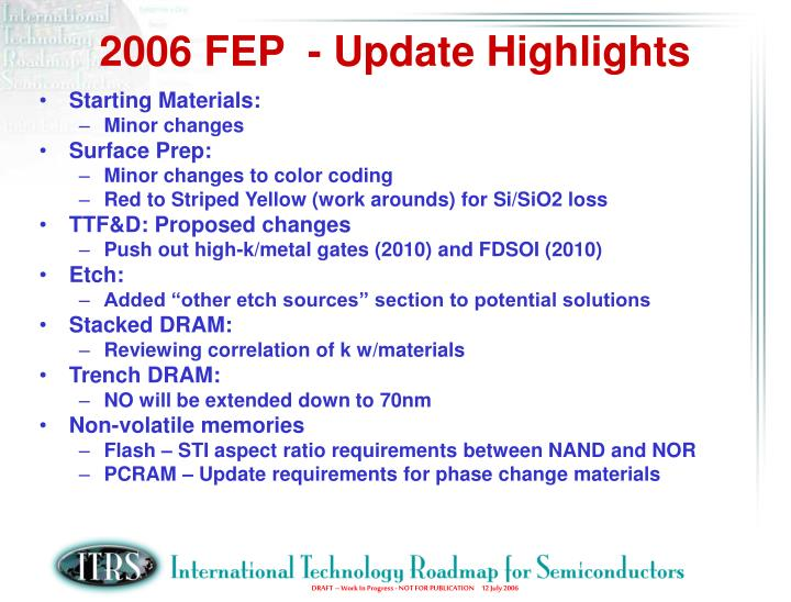 2006 FEP  - Update Highlights