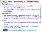 2007 fep summary of current plans