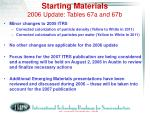starting materials 2006 update tables 67a and 67b