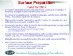 surface preparation plans for 2007