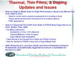 thermal thin films doping updates and issues