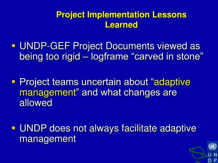 Project Implementation Lessons Learned