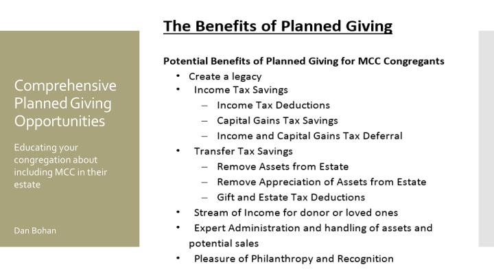 Comprehensive Planned Giving Opportunities