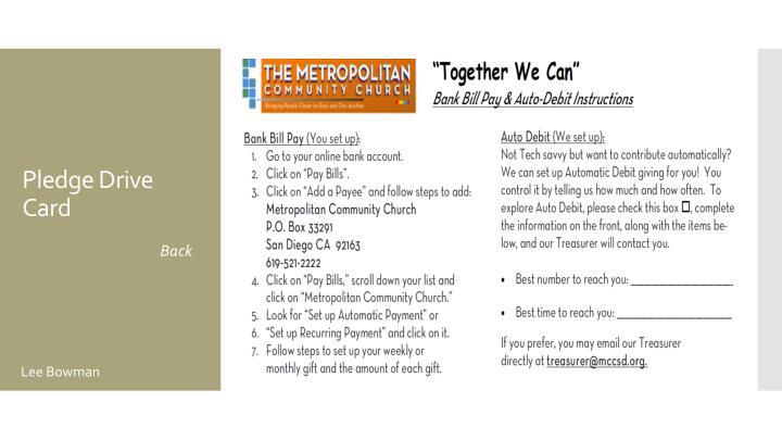 Pledge Drive Card