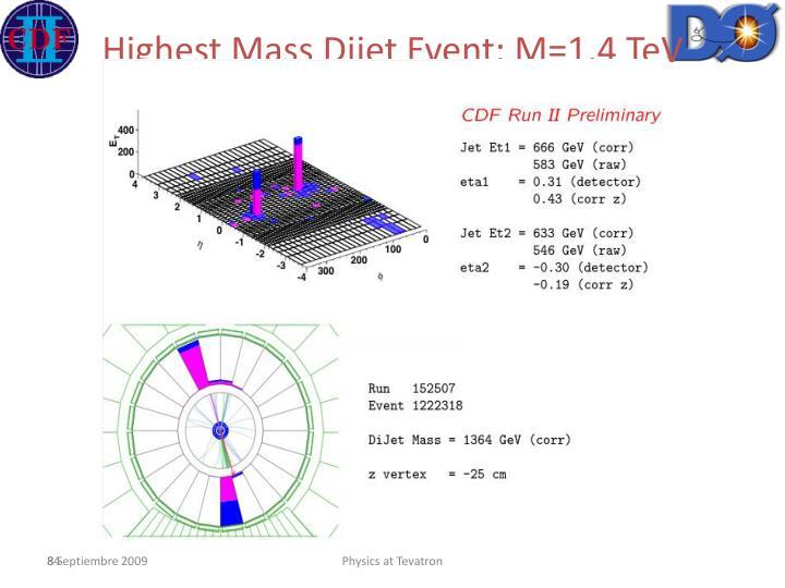 Highest Mass Dijet Event: M=1.4 TeV