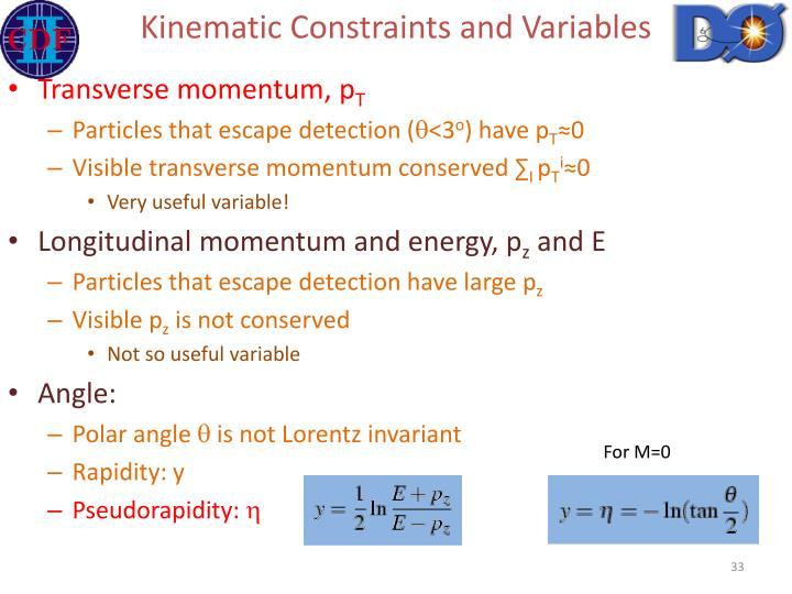 Kinematic Constraints and Variables