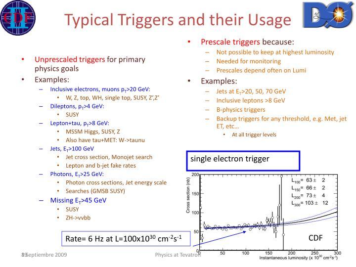 Unprescaled triggers