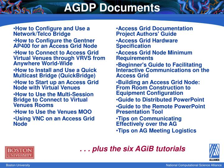 AGDP Documents