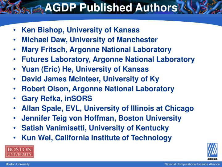 AGDP Published Authors