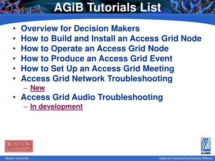 AGiB Tutorials List