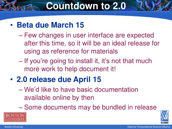 Countdown to 2.0
