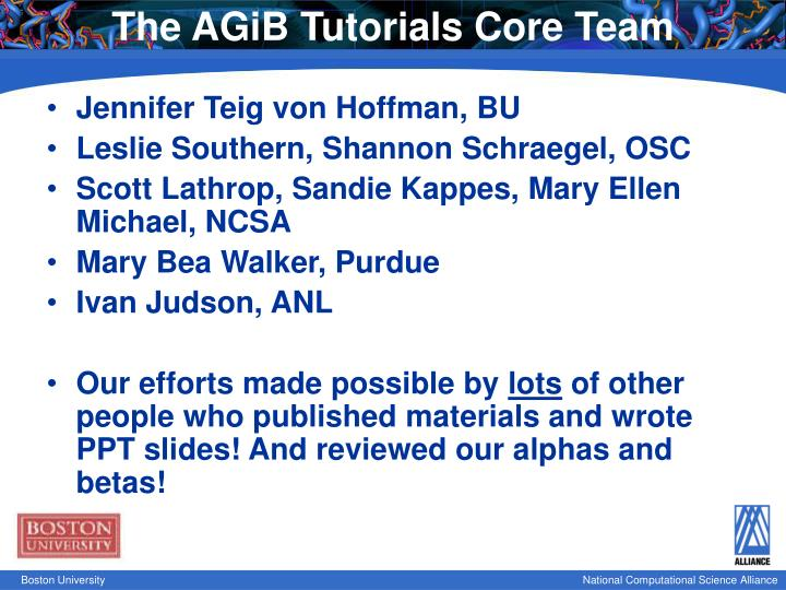 The AGiB Tutorials Core Team