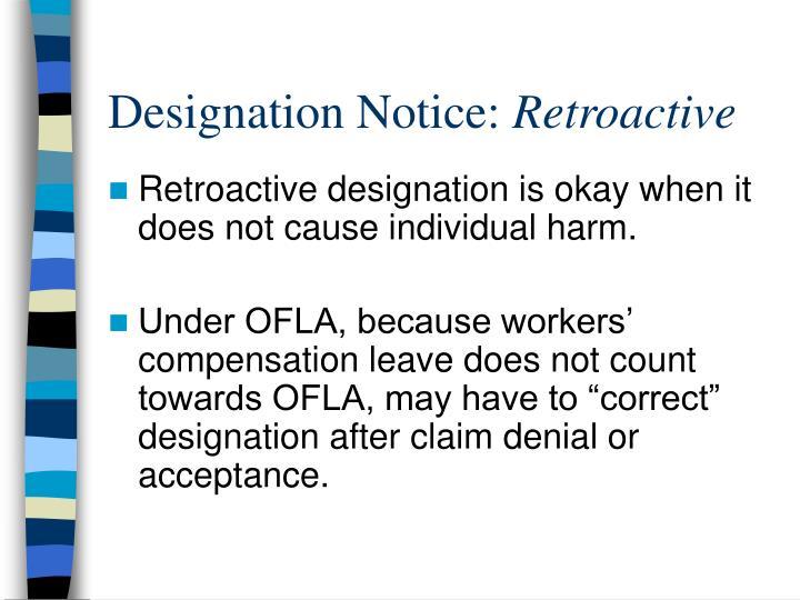 Designation Notice:
