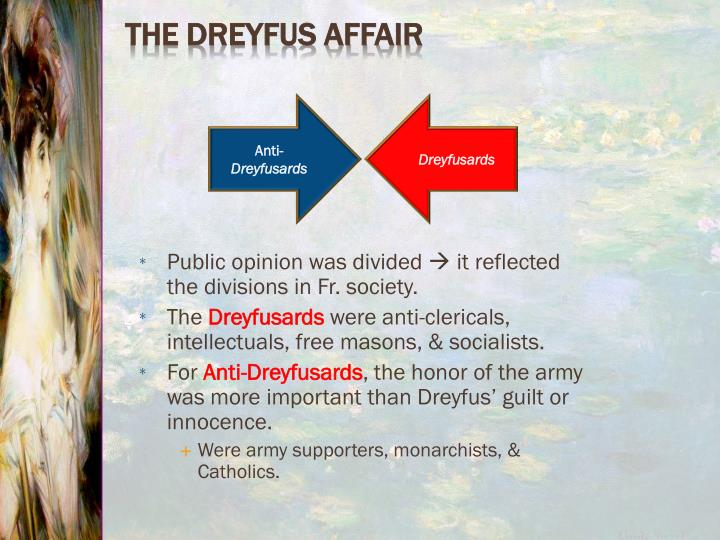 Public opinion was divided  it reflected the divisions in Fr. society.