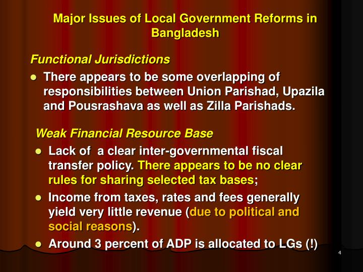 Major Issues of Local Government Reforms in Bangladesh