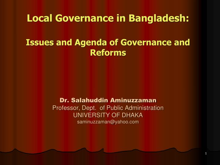 Local Governance in Bangladesh: