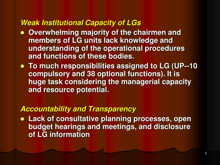 Weak Institutional Capacity of LGs