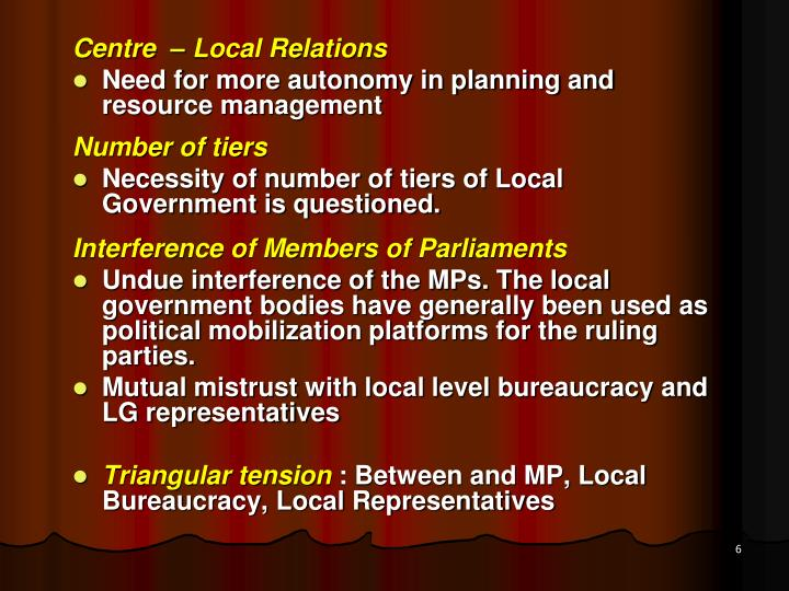 Centre  – Local Relations