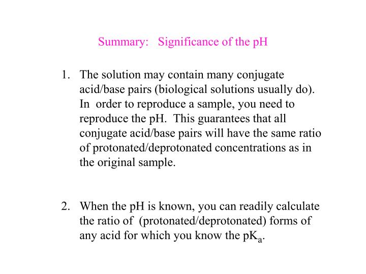 Summary:   Significance of the pH