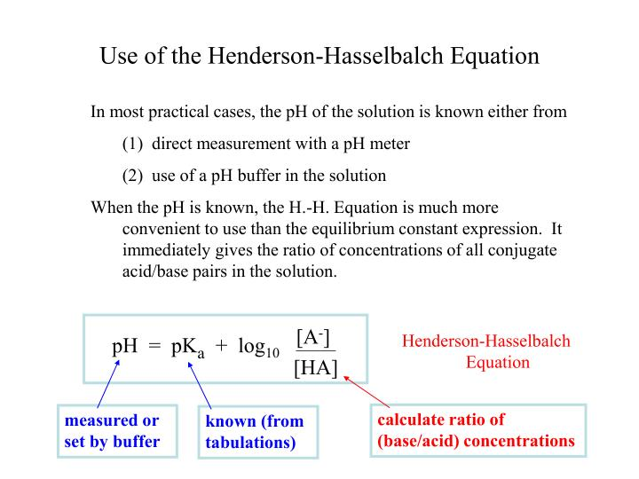Use of the henderson hasselbalch equation