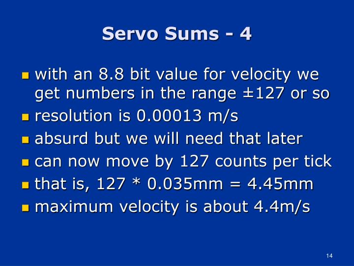 Servo Sums - 4