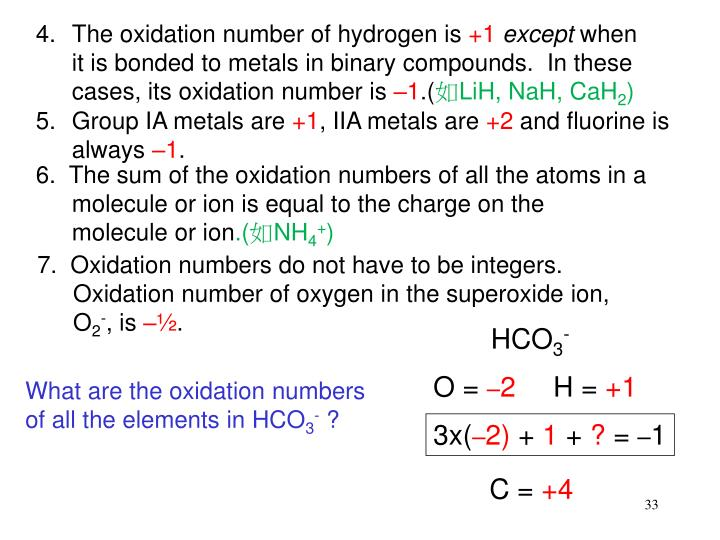 The oxidation number of hydrogen is