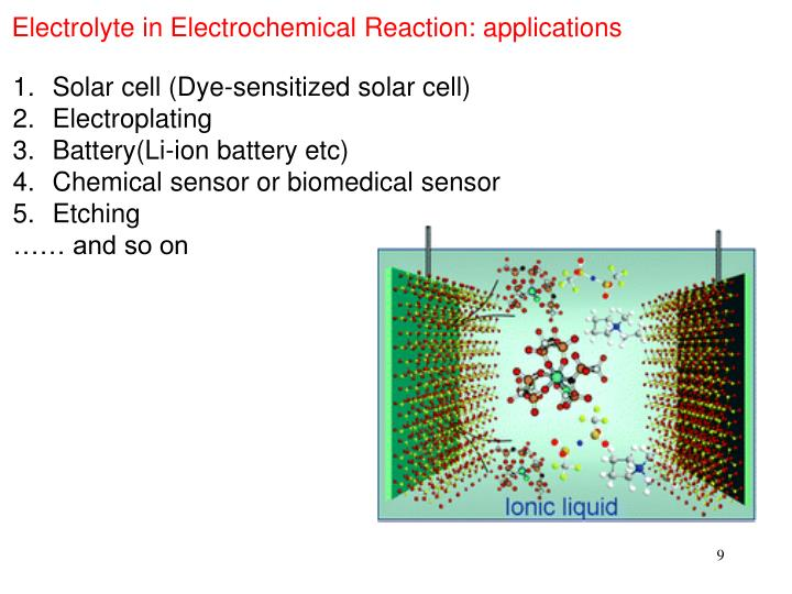Electrolyte in Electrochemical Reaction: applications