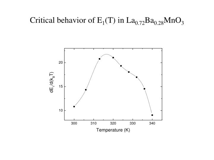 Critical behavior of E