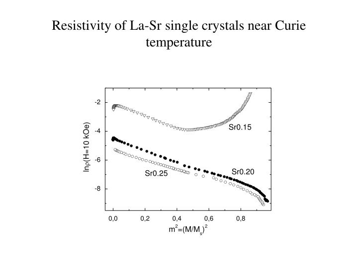 Resistivity of La-Sr single crystals near Curie temperature