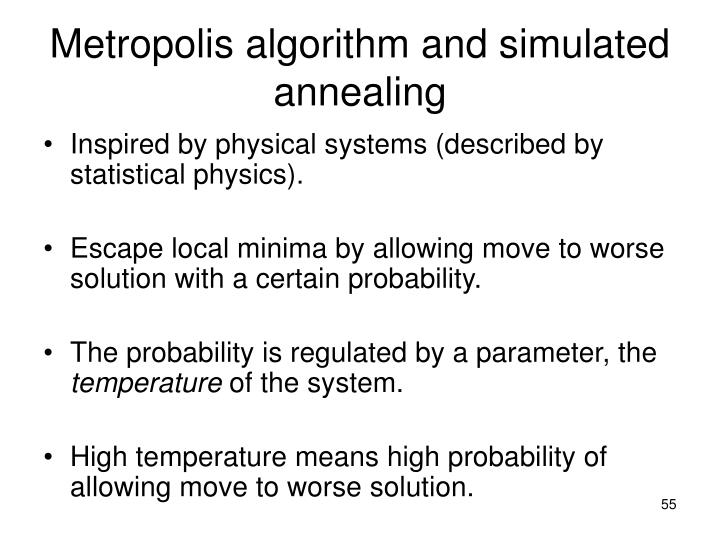 Metropolis algorithm and simulated annealing