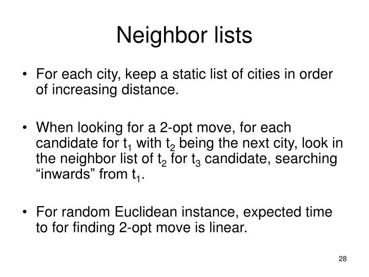 Neighbor lists