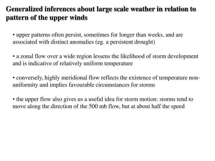 Generalized inferences about large scale weather in relation to pattern of the upper winds