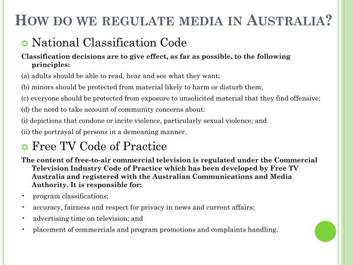 How do we regulate media in Australia?