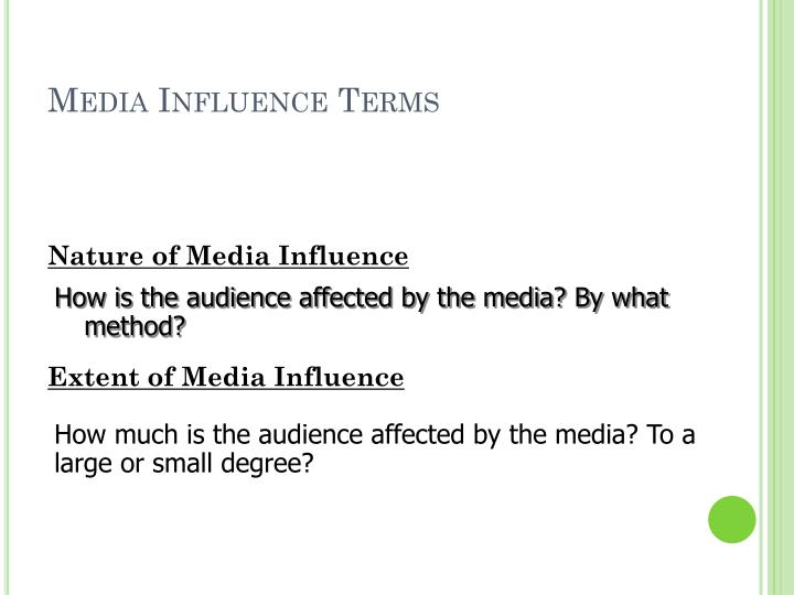 Media Influence Terms