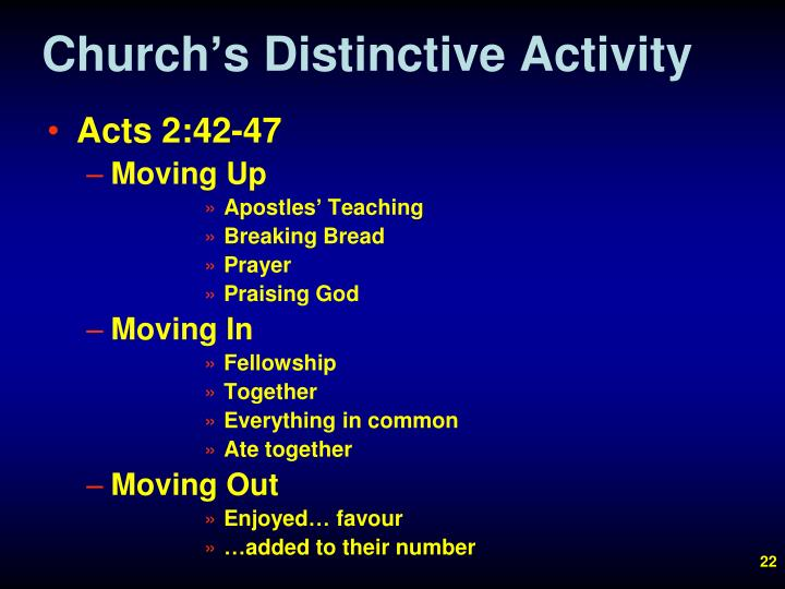 Church's Distinctive Activity