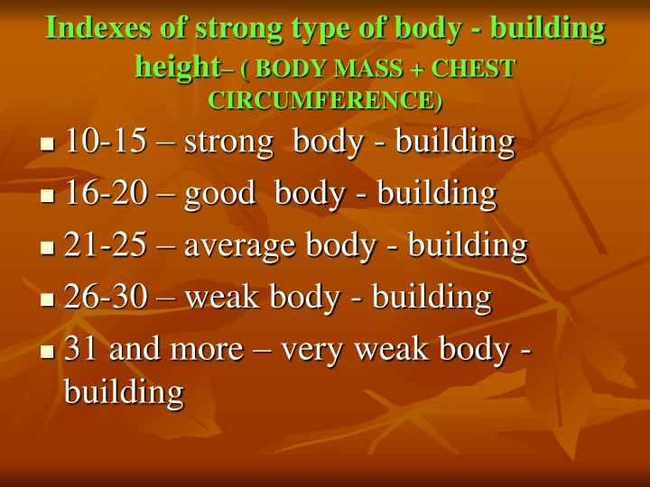 Indexes of strong type of body - building