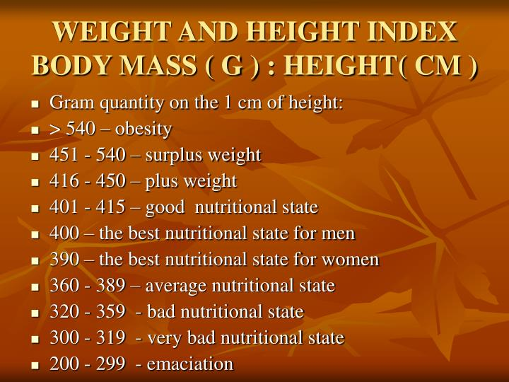 WEIGHT AND HEIGHT INDEX