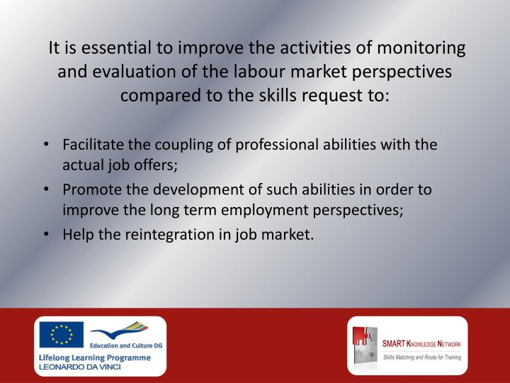 It is essential to improve the activities of monitoring and evaluation of the labour market perspectives compared to the skills request