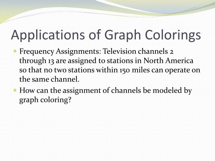 Applications of Graph Colorings