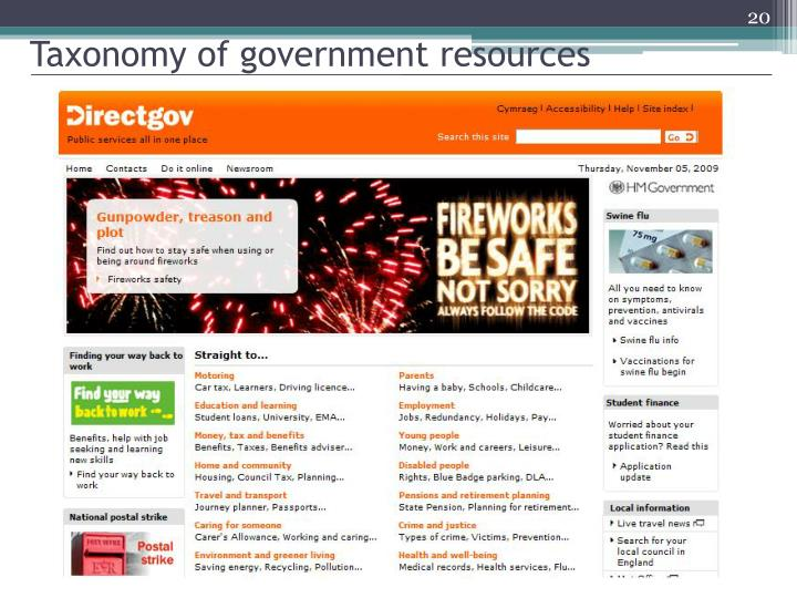 Taxonomy of government resources