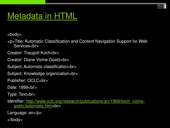 Metadata in HTML