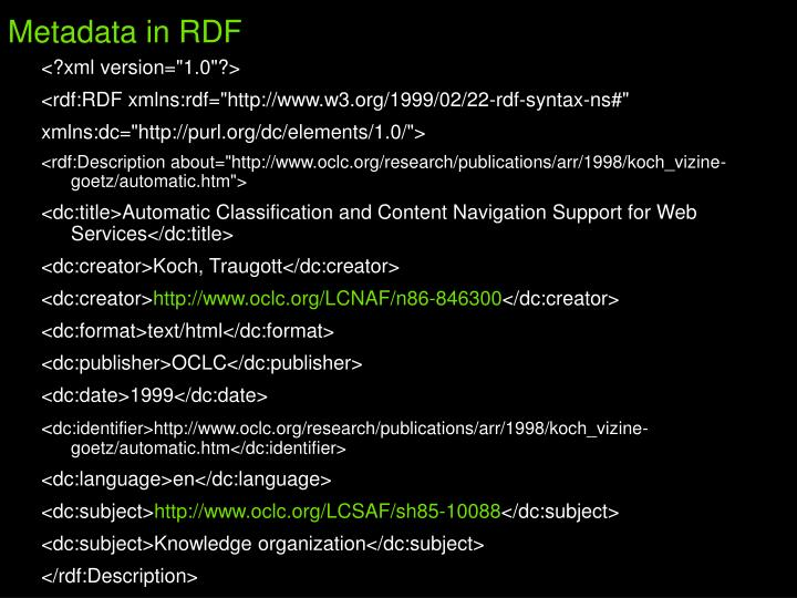 Metadata in RDF