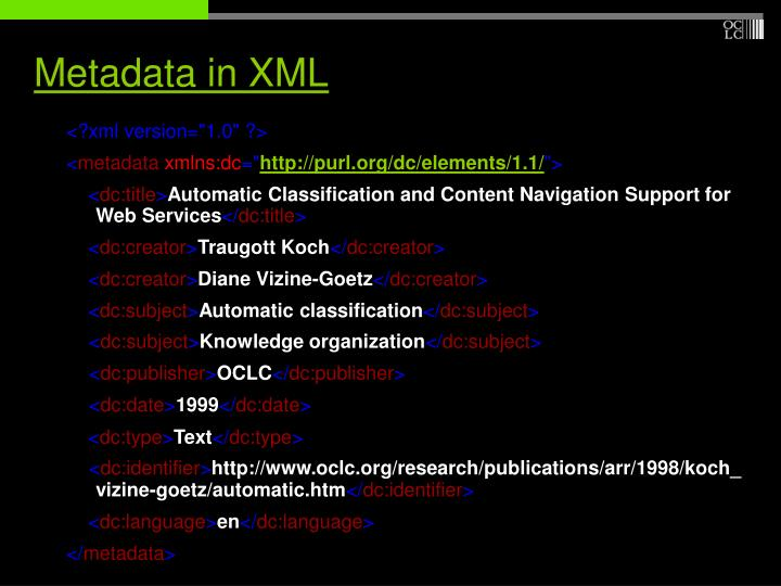 Metadata in XML