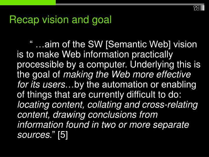 Recap vision and goal