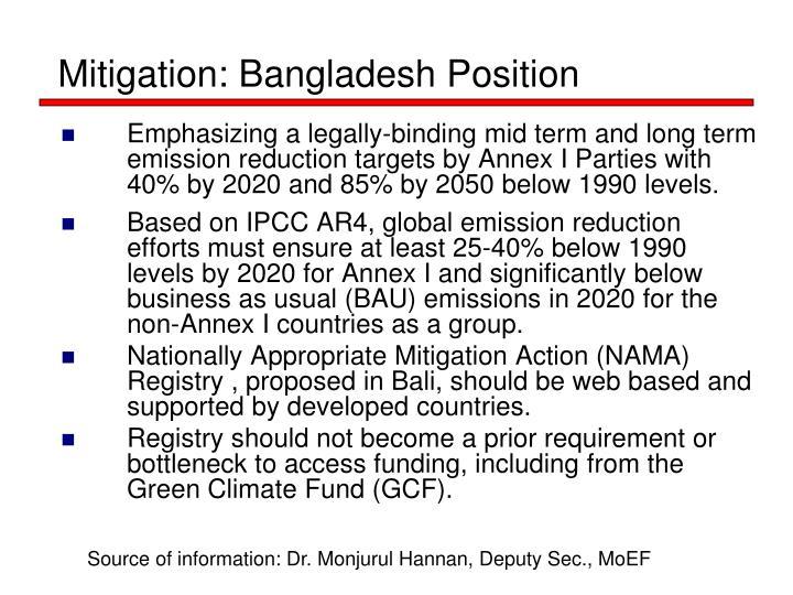 Mitigation: Bangladesh Position