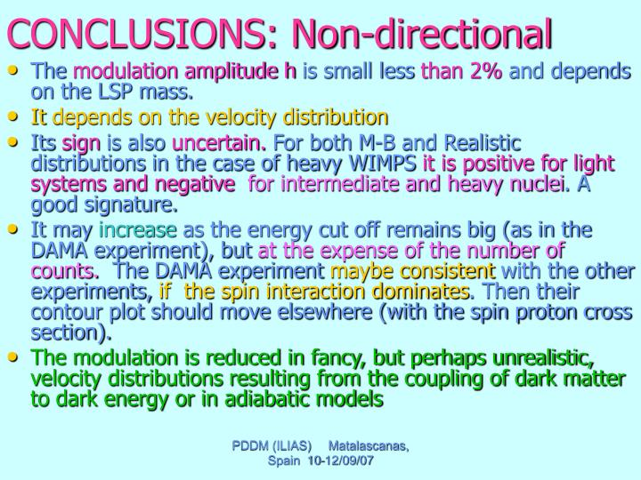 CONCLUSIONS: Non-directional