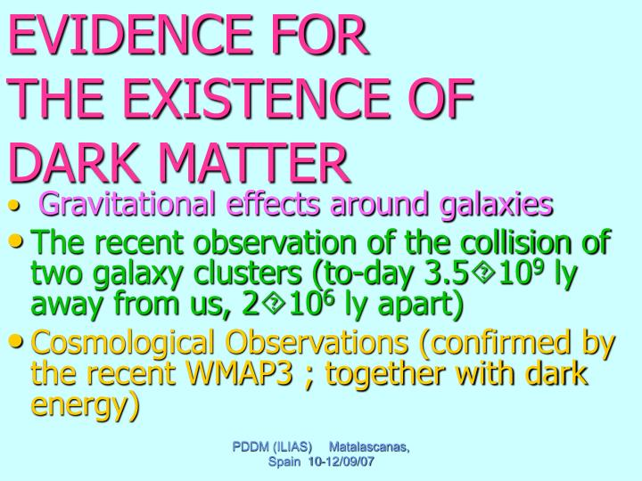 Evidence for the existence of dark matter