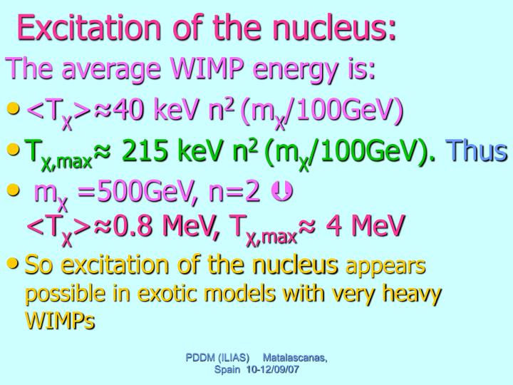 Excitation of the nucleus: